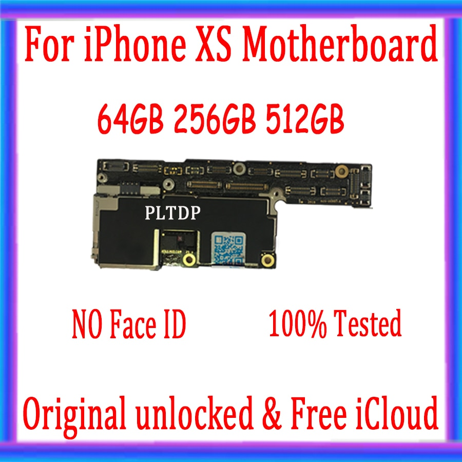 Promo 64GB 256GB 512GB For iPhone XS Motherboard without Face ID With IOS System For iPhone XS Unlocked iCloud Logic Board Full Tested