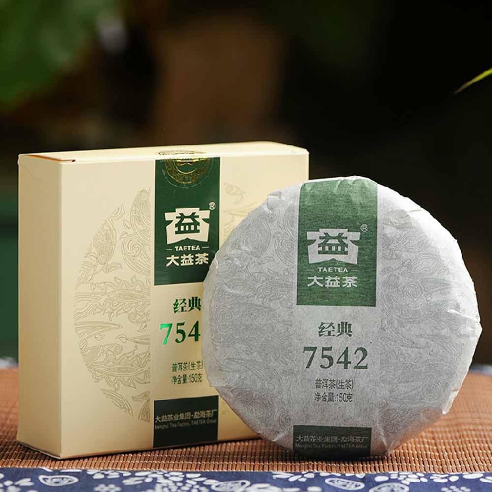 Té dayi clásico 7542 de China Menghai Pu-erh 150g TAETEA Shen Pu-erh cruda Pu-erh Orgánica PU-erh