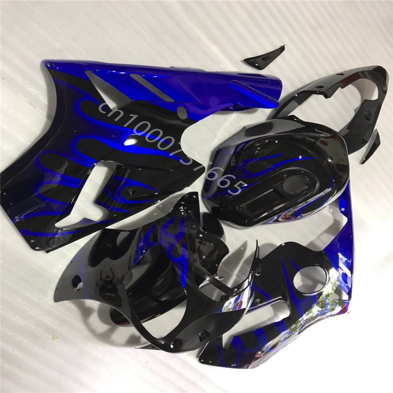 ABS هدية تناسب كاواساكي النينجا ZX-12R 2000 2001 النينجا ZX-12R 00-01 أسود أزرق اللهب البلاستيك هدية مجموعات