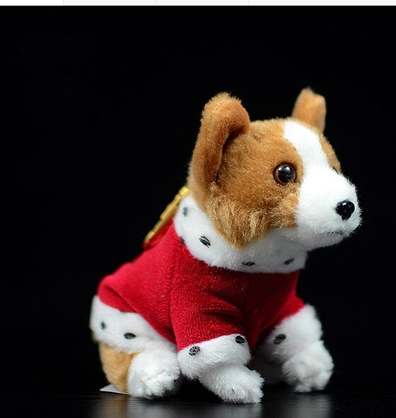 Cute 12cm  Corgi Dog Hang Doll Key Chain Simulation Plush Toys For Gifts