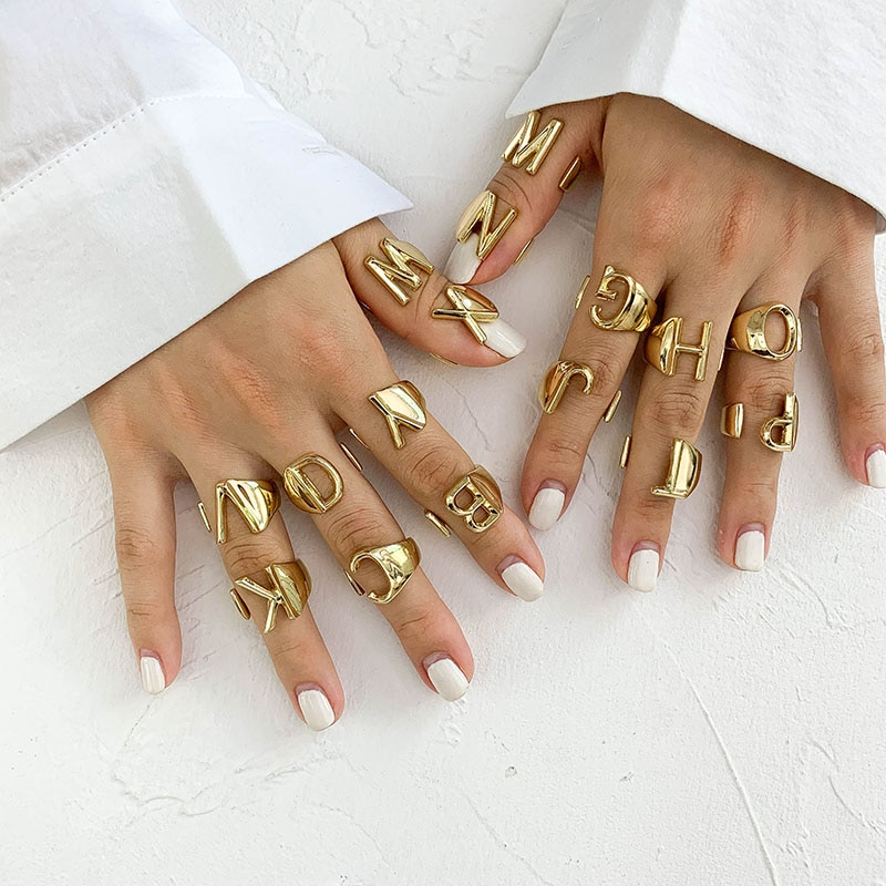 aliexpress - SRCOI Hollow A-Z Letter Gold Color Metal Adjustable Opening Ring Initials Name Alphabet Female Party Chunky Wide Trendy Jewelry