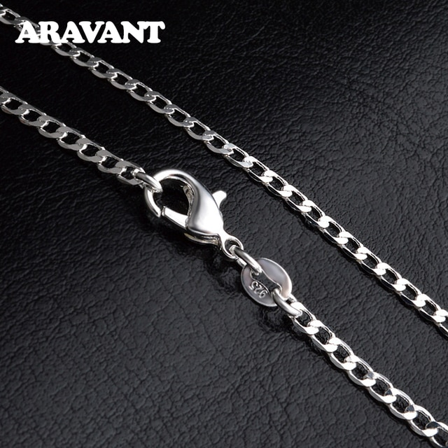 925 Silver 2mm/4mm/6mm/8mm/10mm/12mm Necklace Link Chains Men Fashion Jewelry Accessories