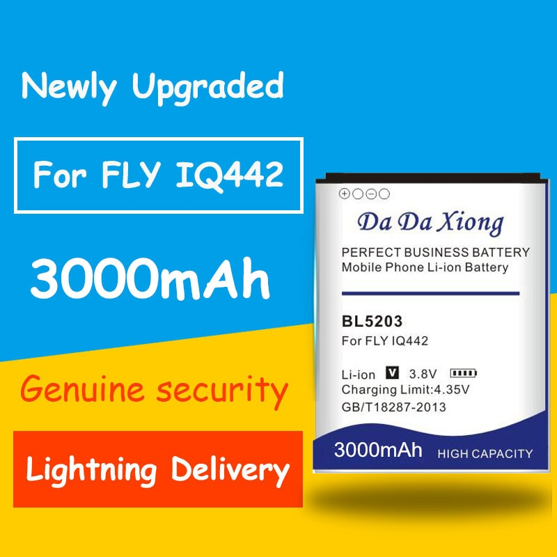 Gran capacidad 3000mAh BL-2503 BL5203 Li-ion teléfono batería para Fly IQ442 Quad Miracle 2 Batería