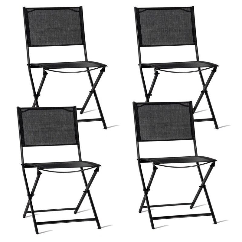 Juego de sillas plegables de 4 Patio exterior, conjunto de sillas de tela textil de tubo de acero para exteriores, juegos de muebles ligeros de estilo playero