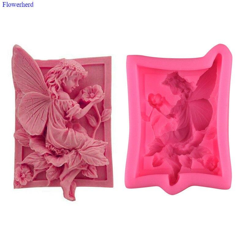 Nova fada anjo forma fondant molde do bolo 3d resina argila silicone molde diy artesanal sabão molde gel silicone molde de chocolate