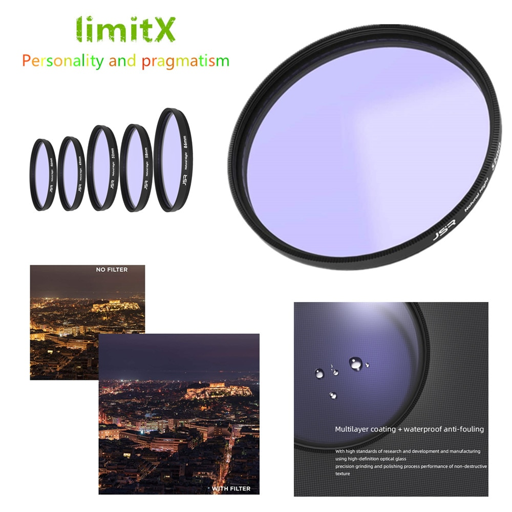 Filtro nocturno de 62mm Natural, revestimiento múltiple, contaminación lumínica para lente FUJINON Fujifilm XF 23mm F1.4 R / XF 56mm F1.2 R / APD