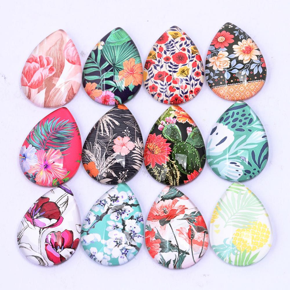 Onwear 20pcs Mixed Flower Pattern Photo Glass Cabochon Teardrop 18x25mm Diy Earring Pendant Making Accessories