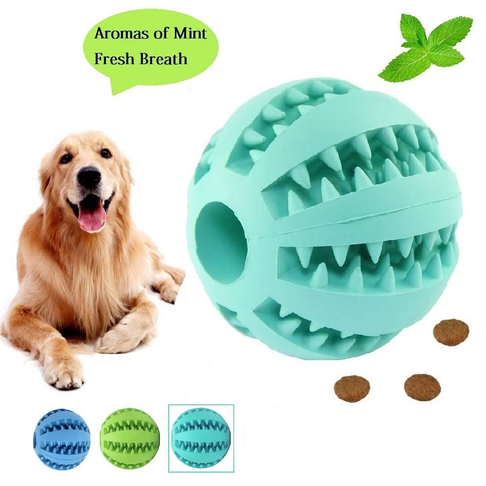 Pet Toys Ball For Dog Cat Interest Mutual Action Food Distribution  Dog Toys Natural Rubber Dog Toothbrush Clean Ball Puppy Toys