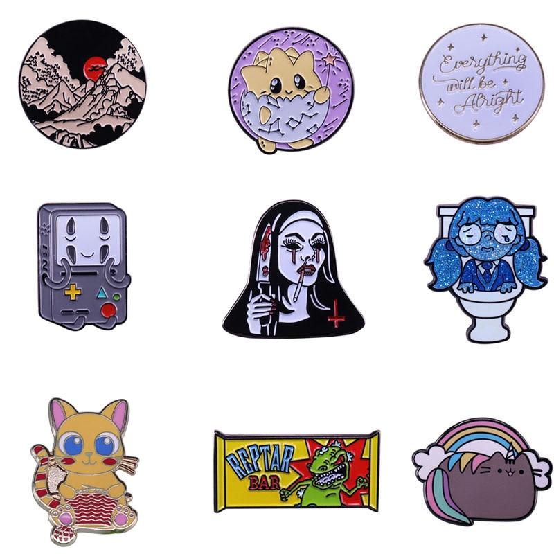 20 unids/lote A3768 Patchfan Pines de esmalte de dibujos animados divertido broches, Pin de solapa camisa bolsa Anime Placa de abanicos de regalo amigo