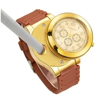 fashion mens large dial silicone quartz watch cigarette lighter