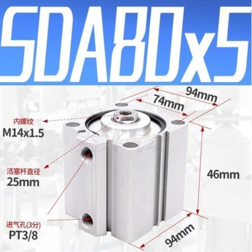 """SDA80-5, Airtac tipo SDA, serie SDA80X5, 3/8 """", puerto, cilindro de aire compacto neumático, 80mm, diámetro de 5mm, SDA80 * 5"""