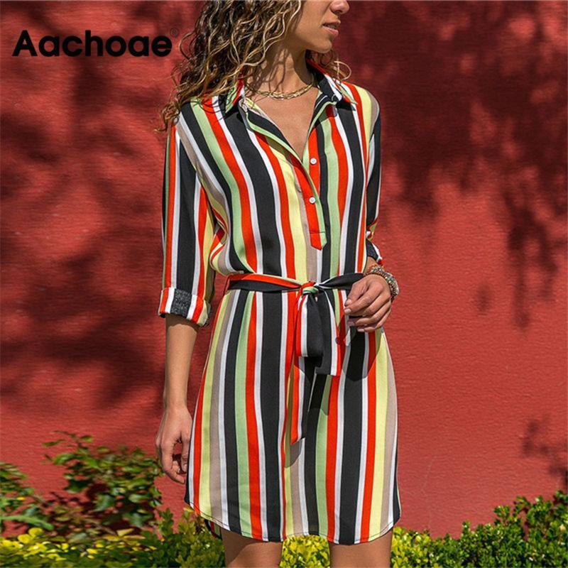 aliexpress - Aachoae Long Sleeve Shirt Dress 2020 Summer Boho Beach Dresses Women Casual Striped Print A-line Mini Party Dress Vestidos