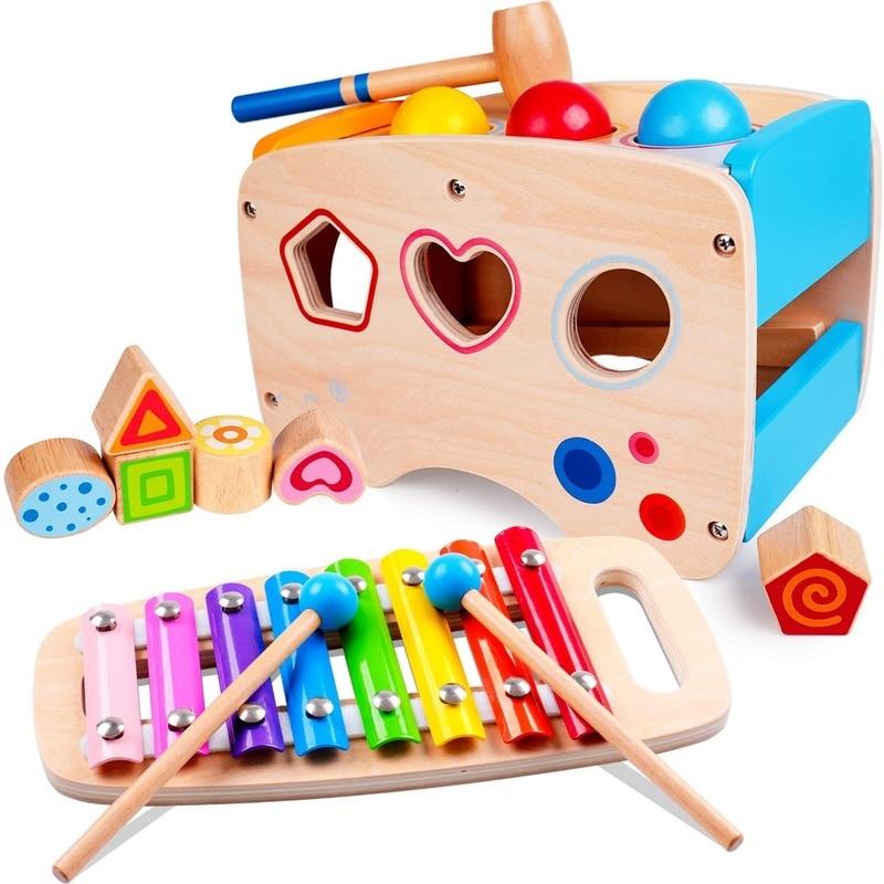 Игрушки-молотки, деревянные развивающие игрушки, классификатор в форме ксилофона, детские подарки на день рождения, игрушки-конструкторы