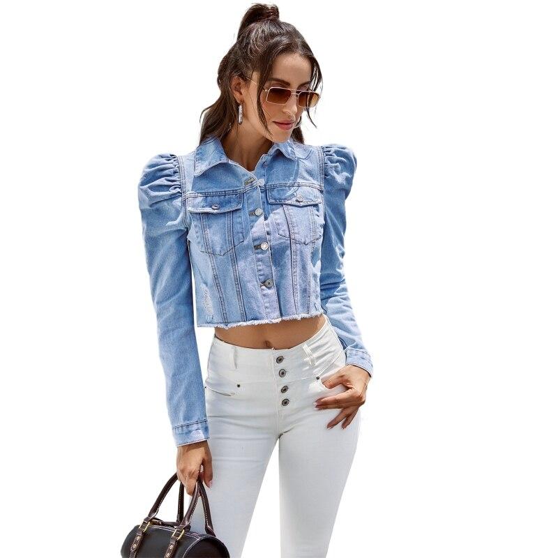 جاكيت دنيم نسائي ضيق بياقة على طية الصدر وأكمام طويلة بزر واحد وأسفل معطف جينز قصير ملابس خارجية غير رسمية ملابس خروج