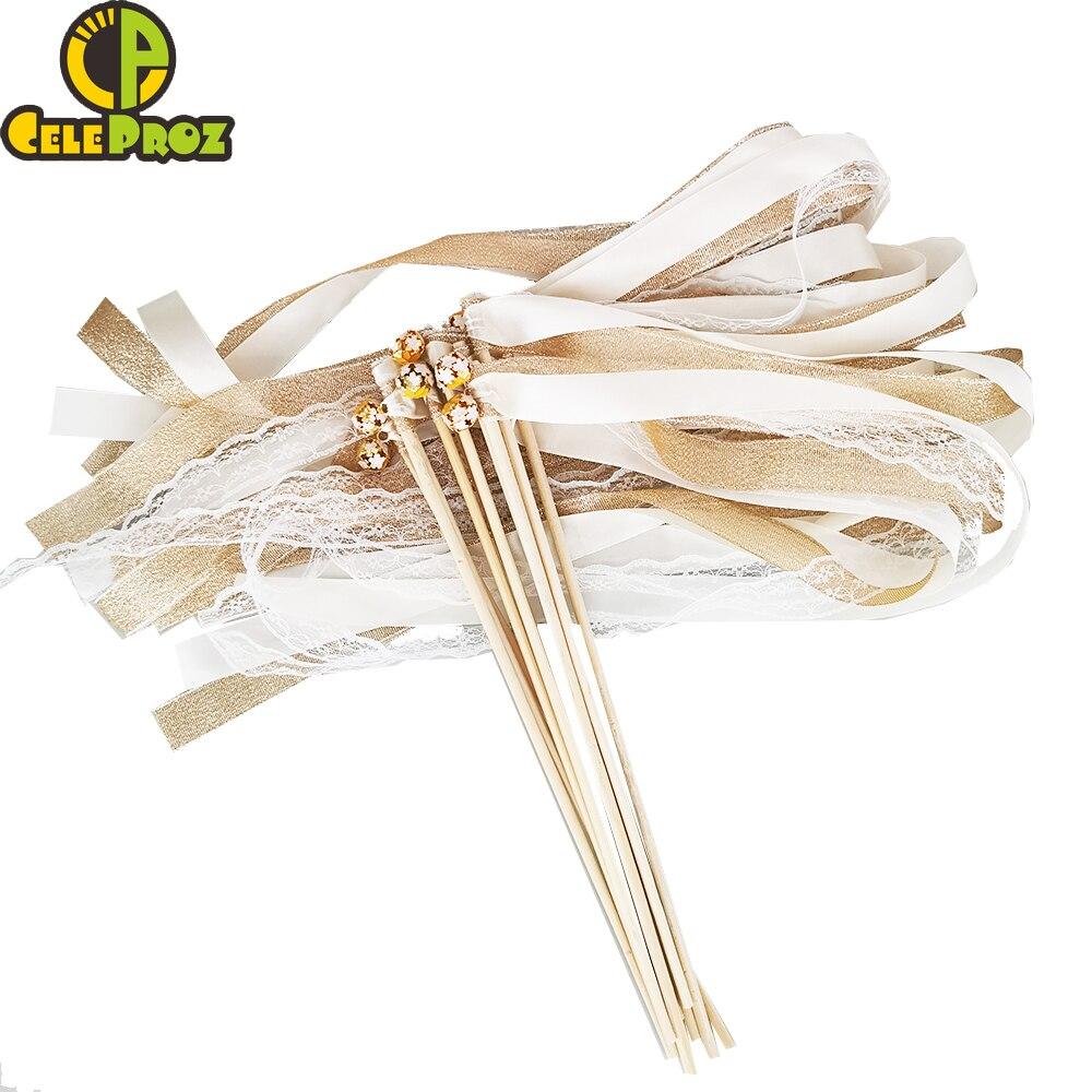 50 pçs fita de marfim varinhas de fadas do laço varas com sinos casamento twirling streamers fita de casamento vara noise maker fontes de festa