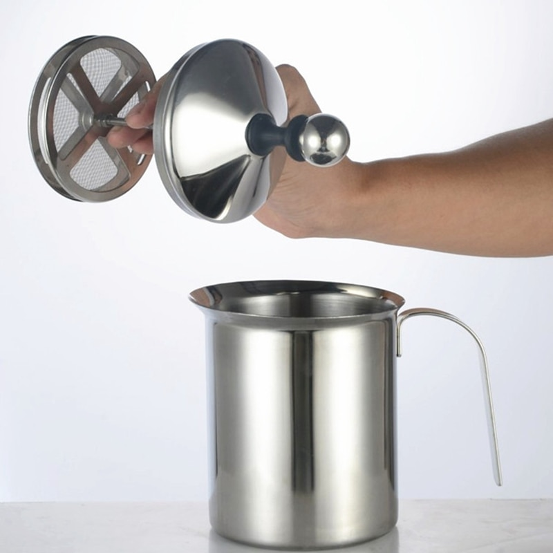 Manual de acero inoxidable, Espumador de leche, bomba Manual, Espumador Manual de leche, lanzadores de espuma, máquina de espuma, Cappuccions, café
