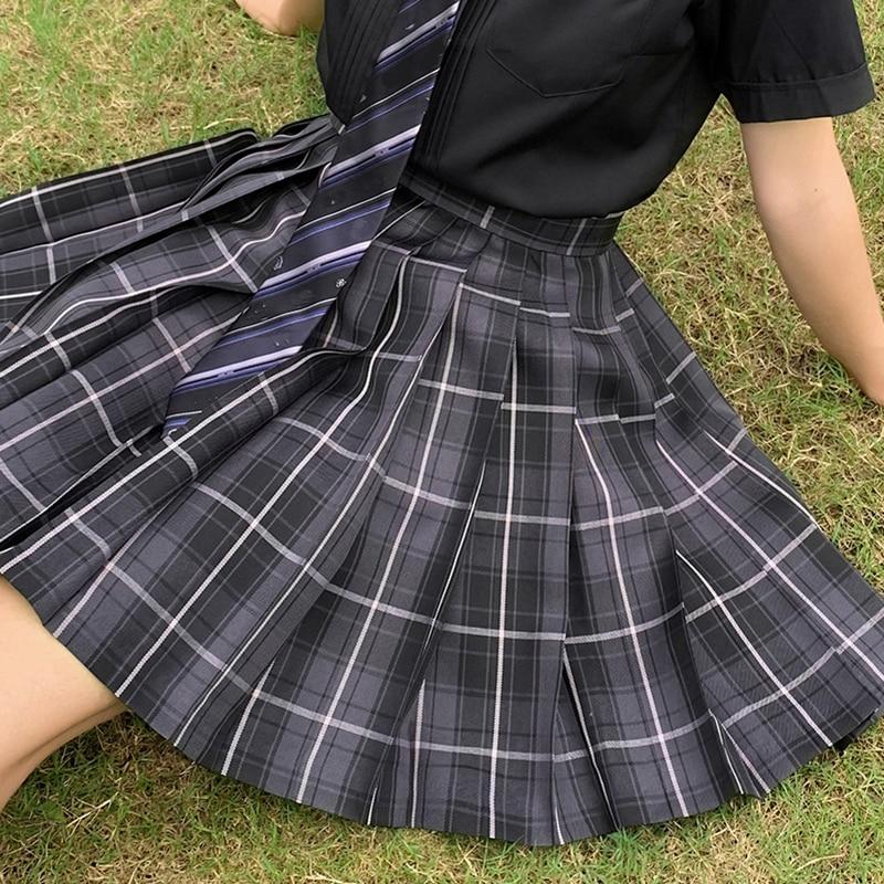 Japanese Women Jk Skirts High Waist Students School Uniform Pleated A-Line Mini Plaid Harajuku Preppy Skirts