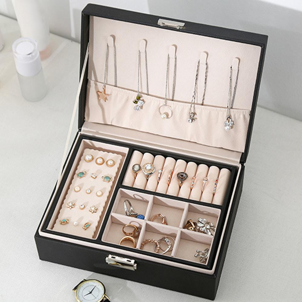 2 Layers Jewelry Box Jewelry Storage Box for Earring Necklace Ring Holder Box Case Jewelry Organizer