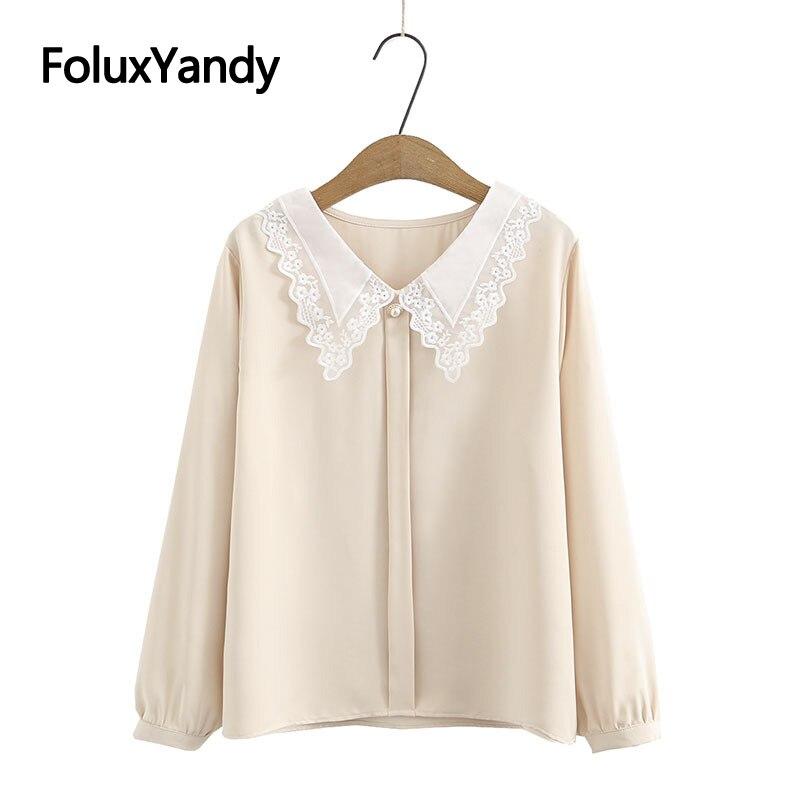 2021 New Summer Womens Chiffon Blouse Plus Size XXXL 4XL Lace Turn-down Collar Long Sleeve Chemise KKFY5325