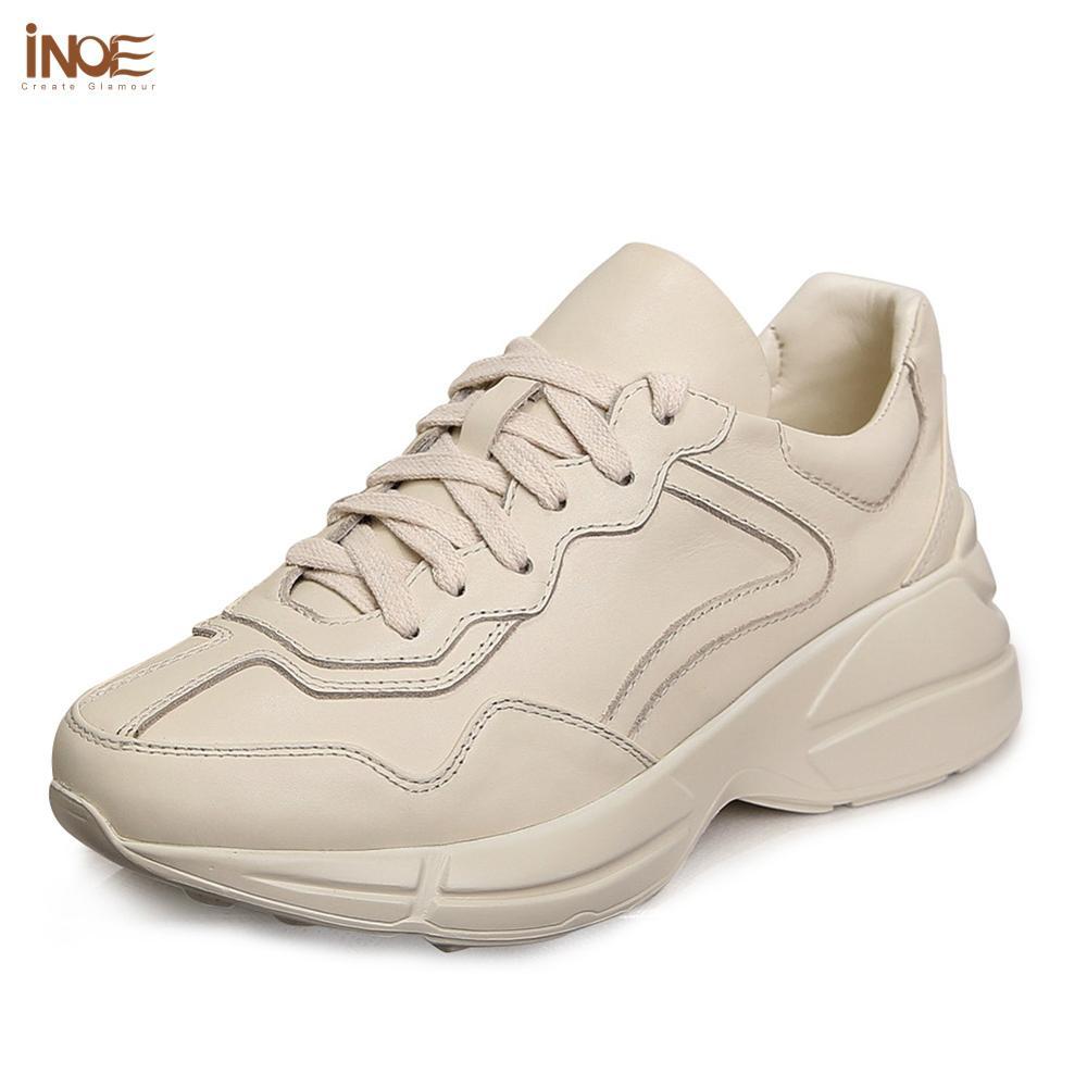 INOE/Новинка; Модные весенние повседневные женские кроссовки из натуральной коровьей кожи; Осенняя обувь на плоской подошве для девочек; Прогулочная обувь на шнуровке с резиновой подошвой