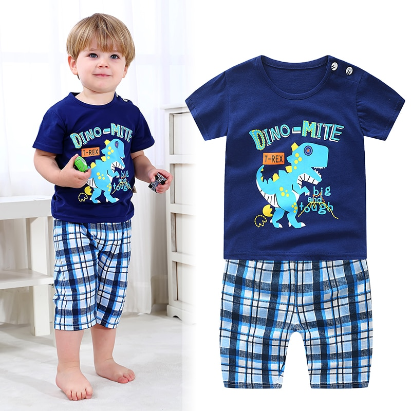 Коллекция 2020 года, новая летняя одежда для малышей комплекты одежды для маленьких мальчиков и девочек возрастом до 4 лет повседневные комплекты с рисунком для маленьких детей