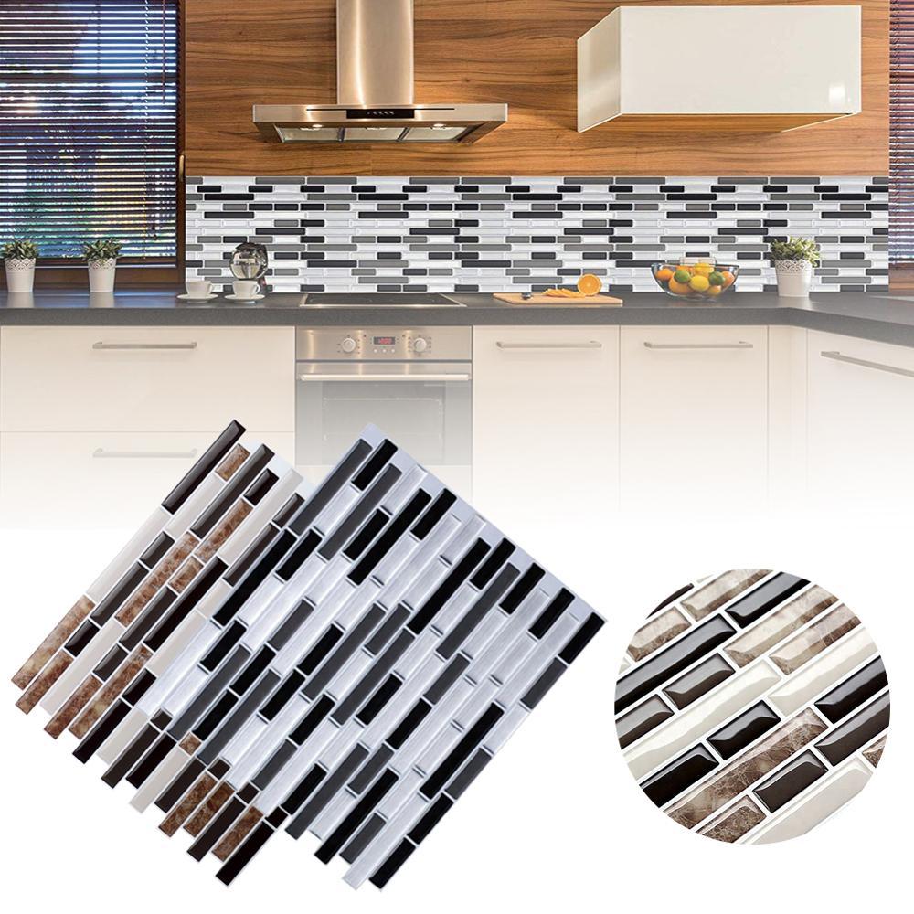 3D кирпича плитки полоса Бумага Стикеры самостоятельно Ванная комната самоклеящиеся настенные Бумага Водонепроницаемый столешница съемные стенки Бумага 28,5 см