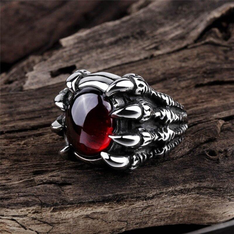 Retro Punk Goth gran dragón garra negro piedra roja anillo de los hombres gótico Punk hombres Gran Piedra anillo rojo CZ regalo de fiesta de cristal fresco para niño