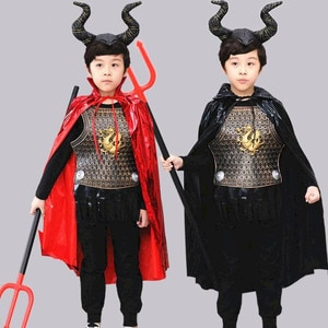 NiceMix Halloween children costume Journey to the West party boy girl cow devil horn cloak show black and red ptinted clothing
