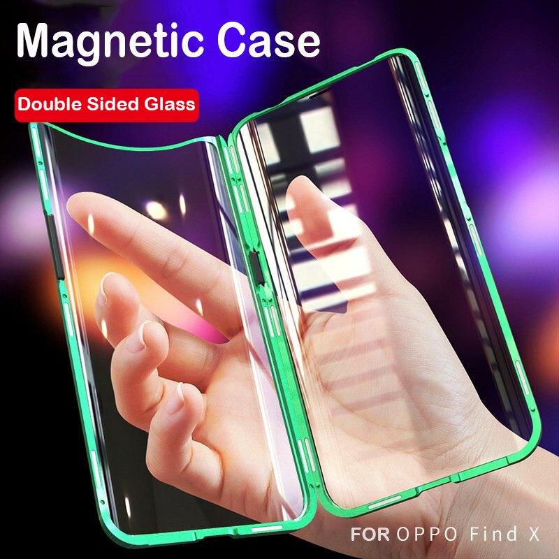 Funda de teléfono magnético completa 360 para OPPO Find X coque Marco de Metal funda de vidrio templado de doble cara parachoques de aluminio Find X Case