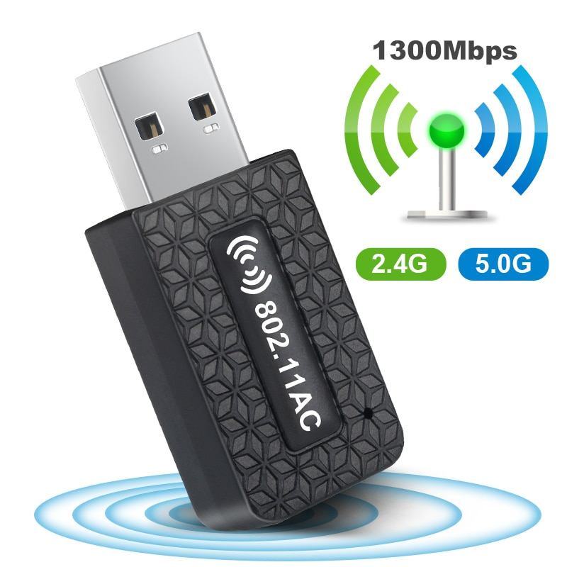 USB Wi-Fi Adapter AC1300Mbps Wifi Adapter 5ghz Wi Fi Dongle USB3.0 Ethernet Long Range Wireless Network Card Wi Fi Module For PC