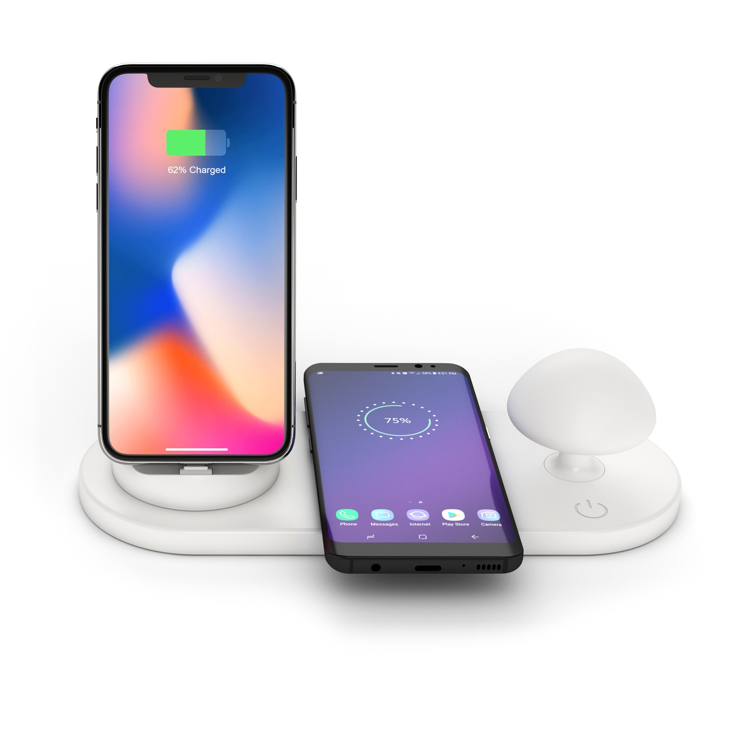 3 in 1 Mushroom lamp Wireless Charger for iPhone 12 Pro Max 11 Xs Max 8 Plus 10W Fast Charging Pad for huawei honor samsung s9+