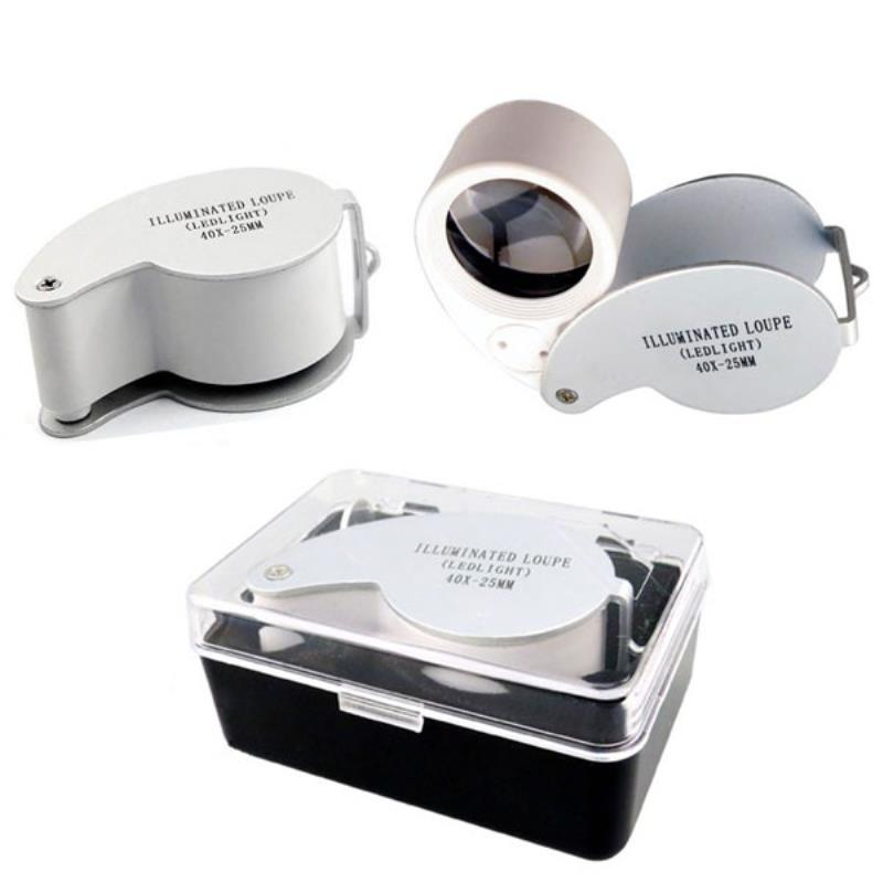Magnifier Illuminated LED Light Jeweler Loupe Folding Magnifier 40x25mm Glass Lens Loupe Pocket Microscope with Protective Case 0 05mm 10mm division antireflection film lens magnifier flat field achromatic magnifying glass loupe with micrometer scale 30x
