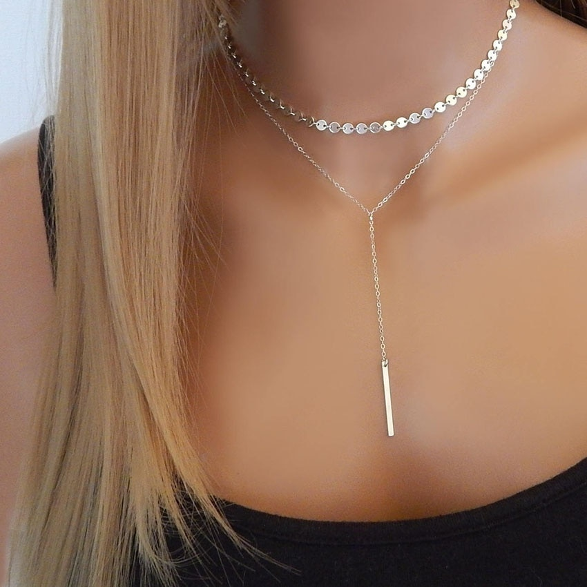 Vintage Metal Layered Necklace Women Gold Silver Color Long Chain Cross Collar Pendant Necklace Jewelry Boho Style Gift