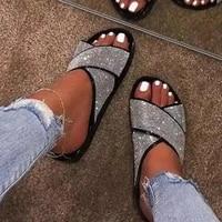 2021 sandals womens summer new fashion womens sandals rhinestone diamond ladies slippers outdoor leisure beach flat slippers