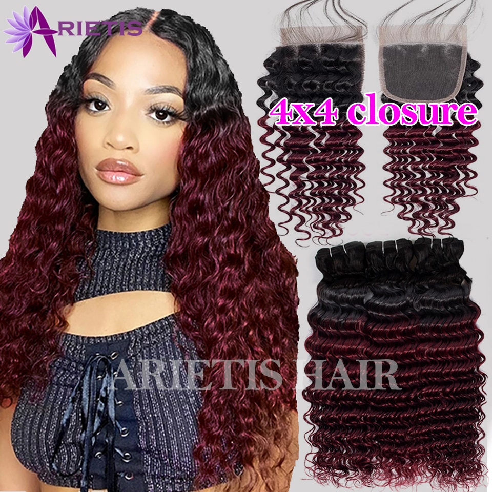 Deep Wave Bundles With Closure T1b/99j T1b/30 Ombre Brown Brazilian Remy Hair Bundle With 4x4 Closure Hair Extension Human Hair