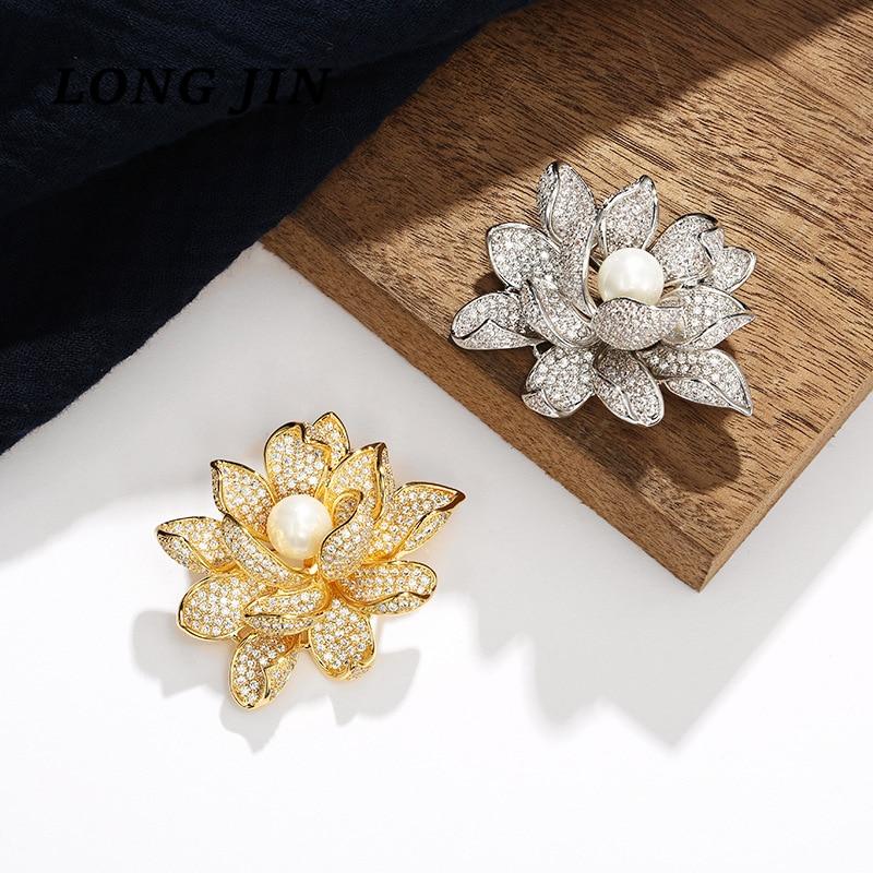 ¡Novedad de 2020! Broche de loto de perlas de estilo chino con incrustaciones de circonita para mujer, broche de Color dorado y plateado Jewelr