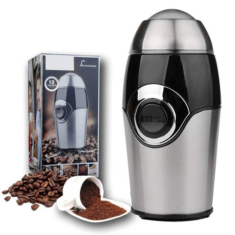 Электрическая кофемолка из нержавеющей стали-измельчение соли, перец, травы, специй, домашняя кофеварка, кухонные инструменты