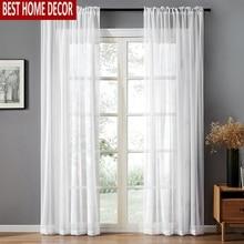 BHD Solide Weiß Tüll Sheer Fenster Vorhänge für Wohnzimmer das Schlafzimmer Moderne Tüll Voile Organza Vorhänge Stoff Vorhänge
