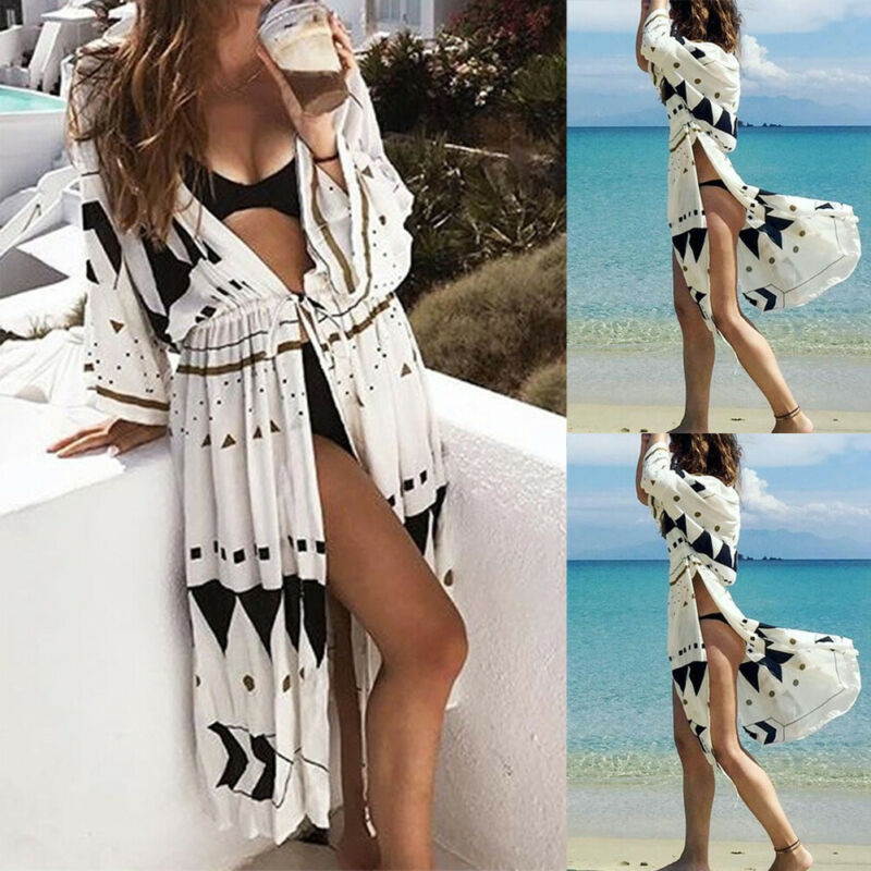 Sommer Neue Frauen Boho Geometrische Bikini Abdeckung Ups Strickjacke Strand Bluse Dame Chiffon Beachwear Lose Schal Kimono Cover Up Kaftan