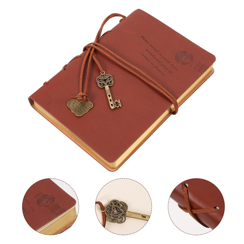 1pc Leather Writing Notebooks Retro Diary Stationery Schedule Book for Students