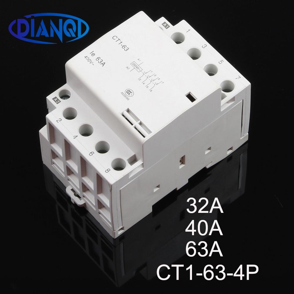 CT1-63 32A 40A 63A 4P 220V/230V 50/60HZ, carril Din hogar ac contactor...