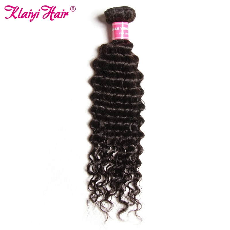 KLAIYI Hair Indian Hair Deep Wave Bundles Remy Hair Natural Color 100gram/piece Can Be Dyed Human Hair Bundles