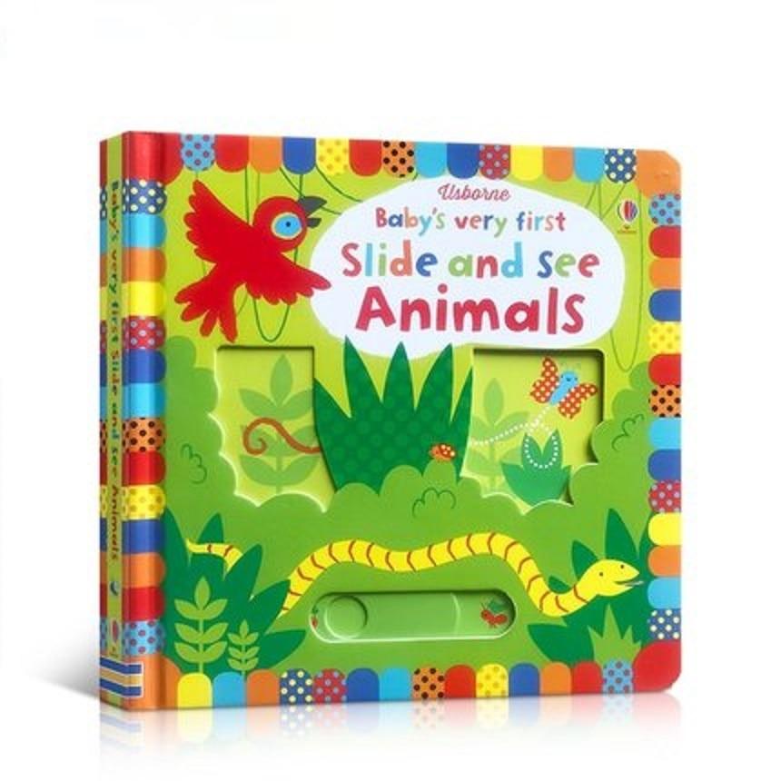 Великобритания английский 3D Usborne детский очень Первый слайд и смотреть животных откидная доска книга для раннего развития детская игрушка