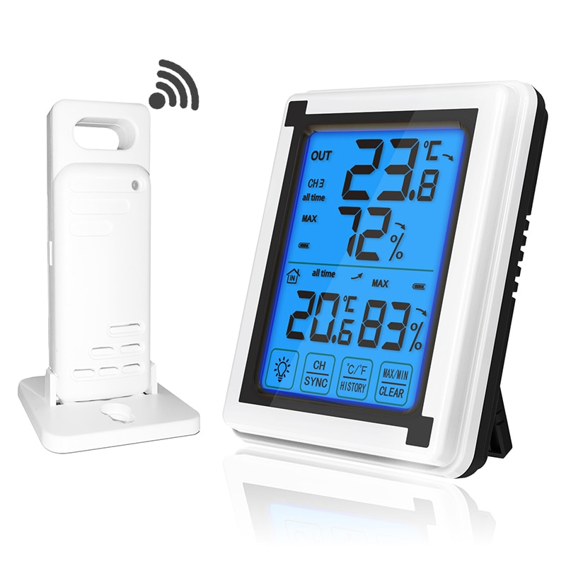 Touch screen Weather Station + Outdoor Forecast Sensor Backlight Thermometer Hygrometer Wireless wea
