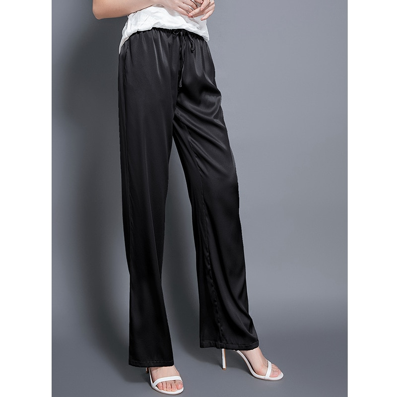 Pants women 100% silk straight mid-waist lace-up elastic waist pockets solid 3 colors ladies casual bottom summer new fashion
