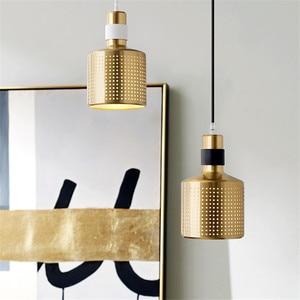 Nordic Brass Pendant Lights Modern Minimalist Iron Art Pendant Lamp Bedroom Living Room Loft  Hanging Lamp Indoor Decor Lighting