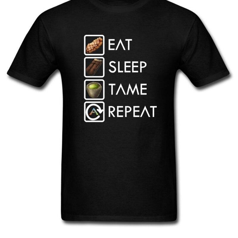 Camisetas divertidas Ark Survival evoluted Eat Sleep Tame Repeat Best, camisetas de manga corta de algodón para hombre, gran oferta 014574