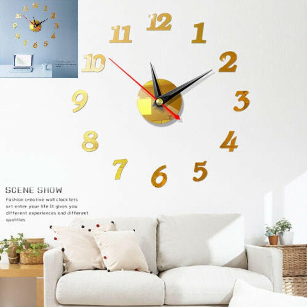 3D de Relojes de pared 3D espejo pegatina Etiqueta de acrílico de gran número de casa moderna decoración de oficina arte