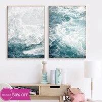 Peinture sur toile de decoration de noel  affiche murale  paysage de vagues docean  Art marin pour salon  decoration de maison
