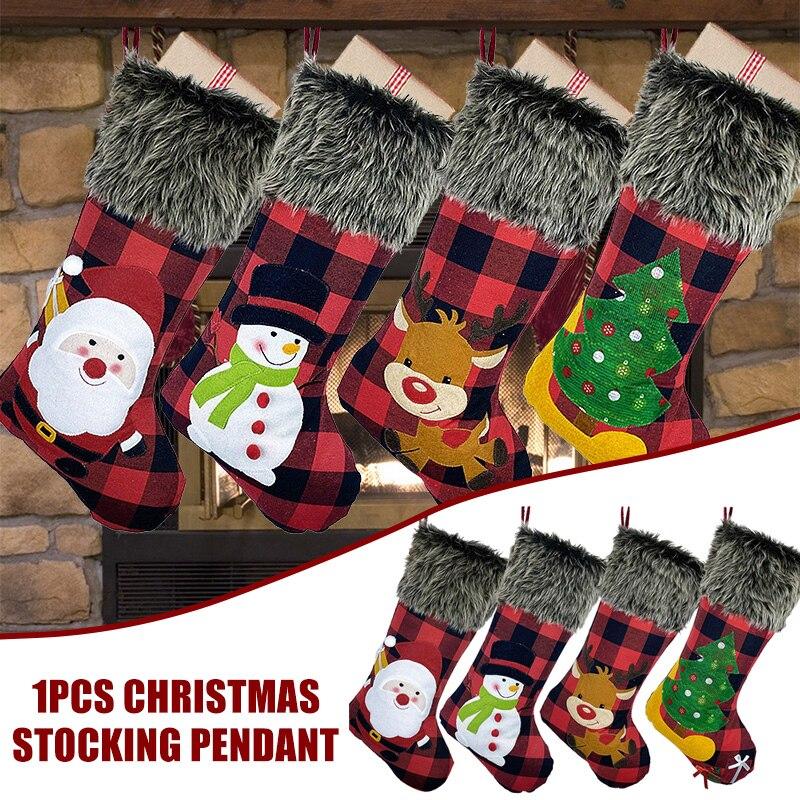 Medias de Navidad arpillera grande a cuadros puños de peluche medias para las decoraciones de fiesta de Navidad vacaciones familia _ WK
